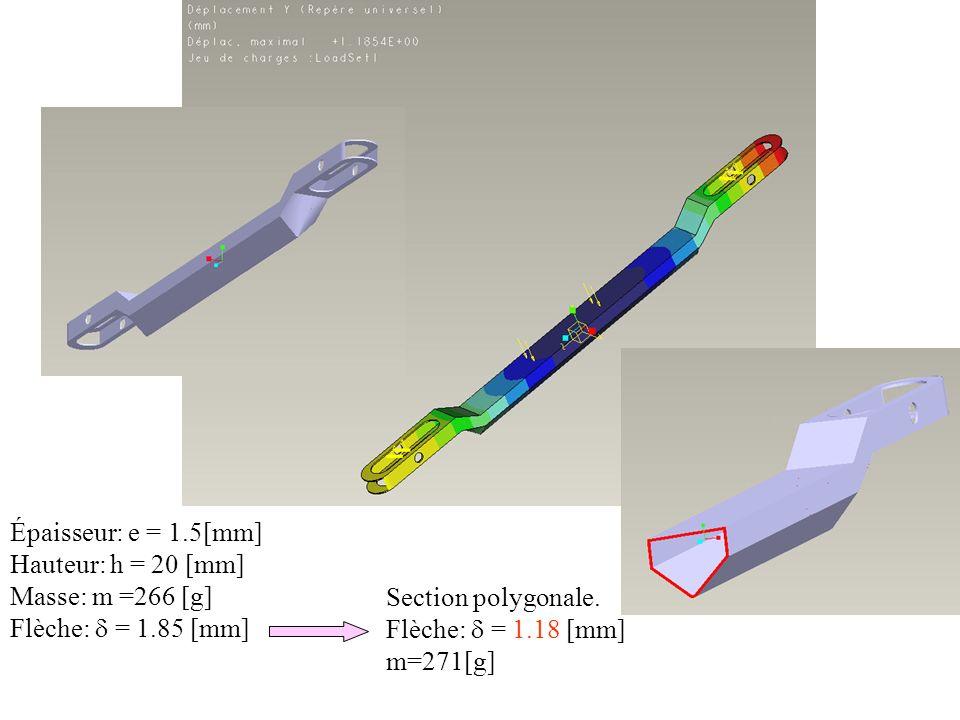 Épaisseur: e = 1.5[mm] Hauteur: h = 20 [mm] Masse: m =266 [g] Flèche:  = 1.85 [mm] Section polygonale.